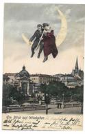 WIESBADEN COUPLE SUR LA LUNE LONGUE VUE 1905 CPA 2 SCANS - Sterrenkunde