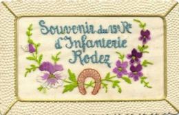CARTE BRODEE  Souvenir Du 15e Rt D'Infanterie RODEZ  Fer à Cheval Fleurs RV - Rodez