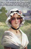 PatriotiqueLa Lorraine Est Francaise + Poeme Victor Higo Jeune Femme Bonnet Lorrain  RV - Patriotic