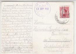 Schiffspost  Vom D. WANGONI Aus SPANIEN 13.9.33 Nach Gronau / Hannover - AK- D WANCONI - 1931-50 Briefe U. Dokumente
