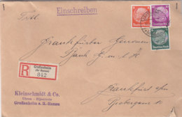 R-Brief Aus GROßAUHEIM (Kr.Hanau) 17.4.36  Nach Frankfurt / Öffnungsmangel - Germany