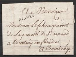 """L. Datée 14 Décembre 1773 Du Prieur D'IGNY Pour Prévôt De St-Amand à COURTRAY - Griffe """"FISMES"""" Port """"6"""" - Texte Concern - 1714-1794 (Austrian Netherlands)"""