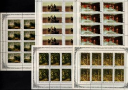 USSR Russia 1986 - 5 Sheets Russian Paintings Art Trees Arhipov Ryabushkin Lebedev Savrasov Shishkin Artist Stamps MNH - Modern