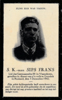 Oorlogsslachtoffer, 1942, Frans Sips, S.K.-Man, Gorodok, Rusland, Mechelen, Witebak, Oostfronter - Devotieprenten