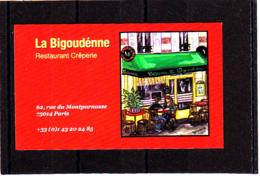 Restaurant Crêperie La BIGOUDENNE /  Montparnasse / Paris 14 - Cartes De Visite