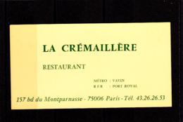 Restaurant, La Crémaillère / Vavin /  Montparnasse / Paris 14 - Cartes De Visite