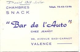 Visitekaartje - Carte Visite - Chambres , Snacks - Bar De L'Auto à Valence - 1968 - Cartoncini Da Visita