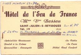 Visitekaartje - Carte Visite - Hotel De L'Ecu De France - Saint Julien S Reyssouze - Mme Vve Besson - Cartoncini Da Visita