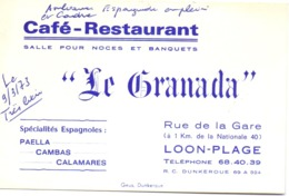 Visitekaartje - Carte Visite - Café Restaurant Le Granada - Loon Plage - 1973 - Cartes De Visite