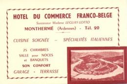 Visitekaartje - Carte Visite - Hotel Du Commerce Franco Belge à Monthermé Ardennes - Cartes De Visite