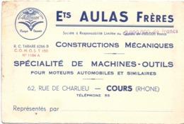 Visitekaartje - Carte Visite - Machines Outils Ets Aulas Frères - Cours Rhone - Cartes De Visite