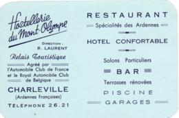 Visitekaartje - Carte Visite - Hotel Restaurant Bar -  Hostellerie Du Mont Olympe - Charleville - Cartes De Visite
