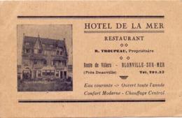 Visitekaartje - Carte Visite - Hotel De La Mer à Blonville Sur Mer - R. Troupeau Prop. - Cartes De Visite