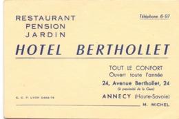 Visitekaartje - Carte Visite - Restaurant Pension - Hotel Berthollet à Annecy - Cartoncini Da Visita