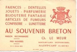 Visitekaartje - Carte Visite - Faience Dentelles - Au Souvenir Breton - Ch. Le Meur à Saint Cast - Cartoncini Da Visita