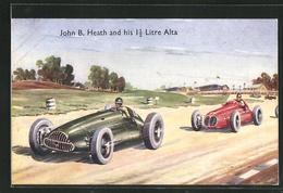 Künstler-AK John B. Heath And His 1 1 /2 Litre Alta, Autorennen - Sport Automobile