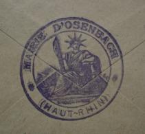 Osenbach  Cachet De La Mairie Au Revers D' Enveloppe Alsace Lorraine Françaises 1919 Cad De Sulzmatt - Marcophilie (Lettres)