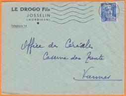"""Enveloppe Seule Pub De JOSSELIN Morbihan  """" LE DROGO Fils """"  Le 16 9 1953 Omec Sécap  Pour VANNES Morbihan - Advertising"""