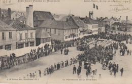 Cpa Miquelon Granville  Procession Quai De La Ronciere Brehier N°3 Maison Landry Et Moraze Animee - Saint-Pierre-et-Miquelon