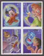 USA 2007. Scott 4192-95a. Block Of 4, The Art Of Disney, Magic. Neuf, MNH - Etats-Unis