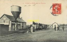 53 St Jean Sur Erve, Gare Des Tramways, Beau Train, Cheminots, Réservoir D'eau..., Affranchie 1908 + Cachet Lettre A - Autres Communes