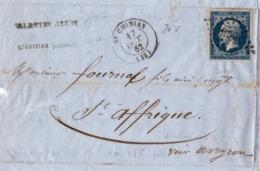 Lettre 1862 Saint Chinian Hérault Valentin Jeune Saint Affrique Aveyron - 1853-1860 Napoléon III