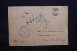 BELGIQUE - Enveloppe De Bruxelles En Franchise Pour Anvers En 1915 Avec Cachet De Contrôle - L 43072 - WW I