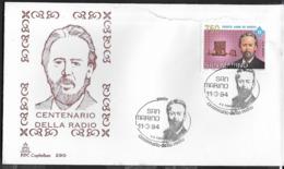 SAN  MARINO - 1994 - CENTENARIO RADIO - 11.03.1994 -   SU BUSTA F.D.C. CAPITOLIUM - FDC
