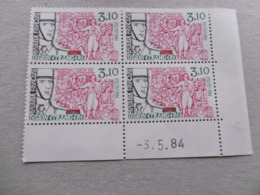 FRANCE 1984 No YT 2311 * * LEGION ETRANGERE  COIN DATE DU 03 05 84   BLOC DE 4 - Frankrijk