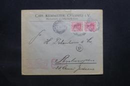 ALLEMAGNE - Enveloppe Commerciale De Oelsnitz Pour Anvers En 1918 Avec Cachet De Contrôle - L 43102 - Brieven En Documenten