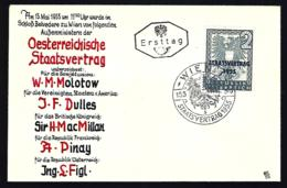 FDC AUTRICHE 1955 - STAATSVERTRAG - - FDC