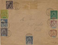 1894- Enveloppe De Papeete Affr. N° ,2,3,4,5,7 + TAHITI N°12 Et 15 - Océanie (Établissement De L') (1892-1958)