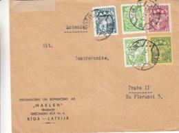Lettonie - Lettre De 1940 ° - Oblit Riga - Exp Vers Praha - Avec Censure - Lettonie
