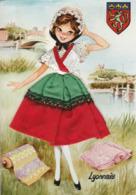 Carte Brodée : Folklore LYONNAIS - Vétements En Tissu - ( C.p.s.m. - Grand Format ) - Costumes