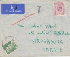Env Affr 6D Obl BESHILL Du 26 DEC 1947 Adressée à Strasbourg Taxée 3 F - Alsace Lorraine