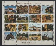 ANI 10 - UMM AL QIWAIN Blocde 16 Timbres Petit Format Animaux Sauvages - Umm Al-Qaiwain