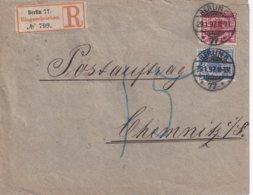 ALLEMAGNE 1897 LETTRE RECOMMANDEE DE BERLIN AVEC CACHET ARRIVEE CHEMNITZ - Brieven En Documenten