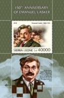 SIERRA LEONE - 2018 - Chess, Emanuel Lasker - Perf Souv Sheet - M N H - Sierra Leone (1961-...)
