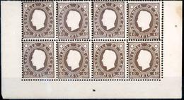 MACAU. 1888. D. Luis I Embossed. 40r Brown Perf 12 1/2. BLOCK OF EIGHT, With Margin Borders, Lower Part Of Sheet. V. Fin - Macau
