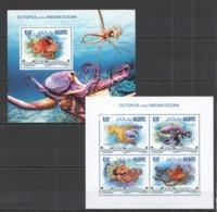 ML427 2014 MALDIVES FAUNA MARINE LIFE OCTOPUS OF THE INDIAN OCEAN KB+BL MNH - Vita Acquatica