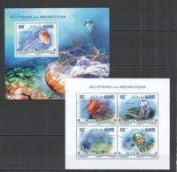 ML428 2014 MALDIVES FAUNA MARINE LIFE JELLYFISH OF THE INDIAN OCEAN KB+BL MNH - Vita Acquatica