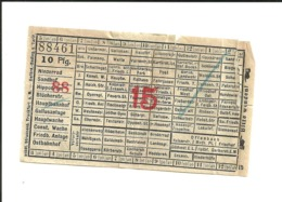 1 Ticket Ancien. Niederrad - Ostbahnhof (Allemagne).  Voir Description - Otros