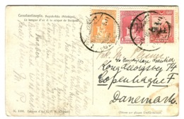 1927 Surcharges On 1 + 6 Nice Tricolor Franking On Postcards Sent To Denmark - Lettres & Documents