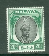 Malaya - Pahang: 1950/56   Sultan Abu Bakar    SG64     20c   Black & Green   MH - Pahang