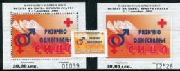 MACEDONIA 1995 Anti-AIDS Week Tax Stamps And Blocks MNH / **.  Michel 82 Block 17A-B - Mazedonien