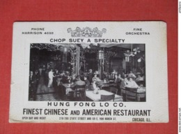 Hung Fung Lo Co. Chop Suey A Specialty  Chinese & American Restaurant  Illinois > Chicago   Ref 3662 - Chicago