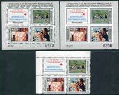 MACEDONIA 1994 Red Cross Week Stamps And Blocks MNH / **.  Michel 62-65 Block 11A-B - Mazedonien