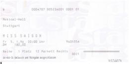 Altes Ticket Musical MISS SAIGON - Musical Hall Stuttgart 1996 - Eintrittskarten