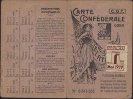 Carte Confédérale CGT FSI Travailleurs Bâtiment BTP France Et Colonies 1939 Vignette 1er Mai - Francia