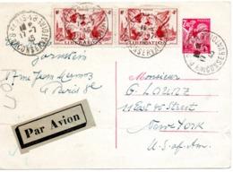 Entier Iris 2,40 De Paris Par Avion Pour Les USA-7-1945 (un Pli) - Marcophilie (Lettres)